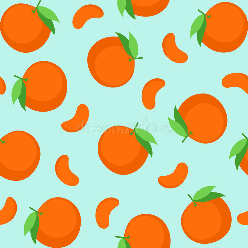 Seamless pattern with tangerines. royalty free illustration