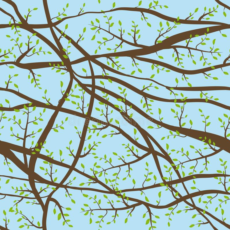 Seamless pattern tangled Brown branches with green leaves on blue sky, day background. abstract background for site, blog, fabric. stock illustration