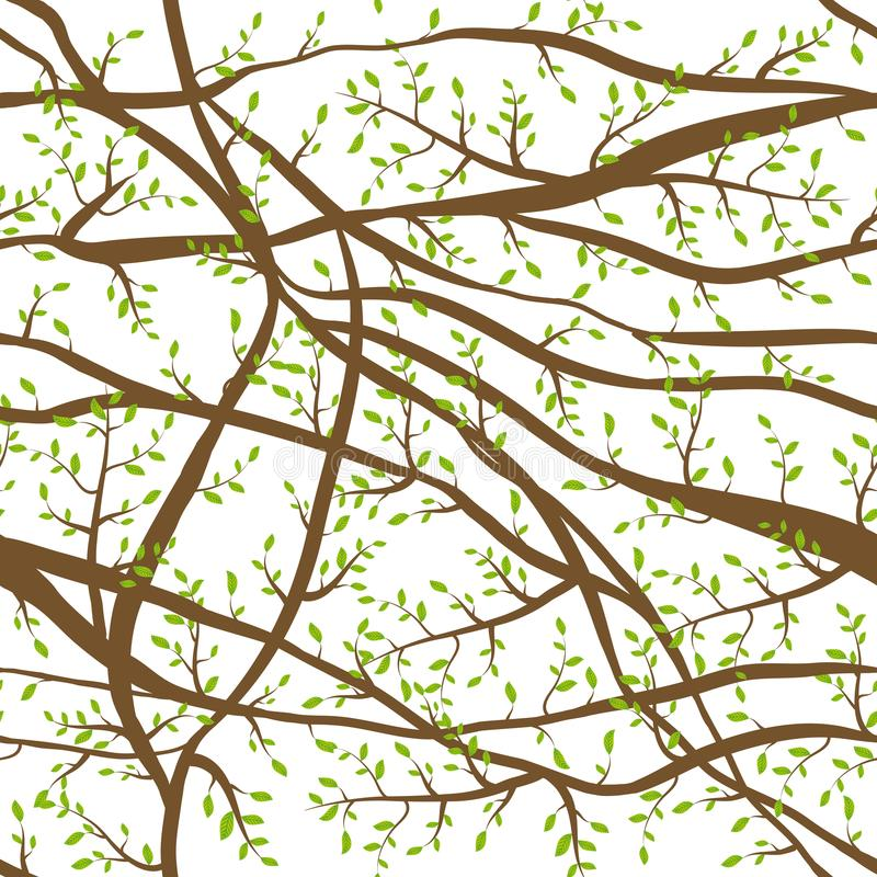 Seamless pattern tangled Brown branches with green leaves on white abstract background for site, blog, fabric. Vector royalty free illustration