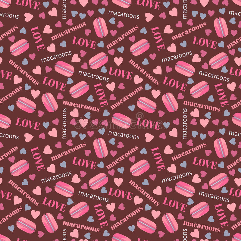 Seamless pattern with tasty macaroons, hearts and love royalty free illustration