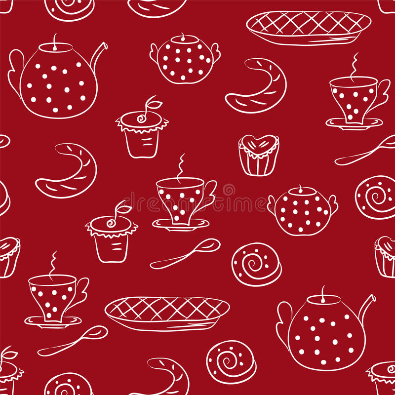 Download Seamless Pattern With Tea Or Coffee Set Stock Photography - Image: 13170202