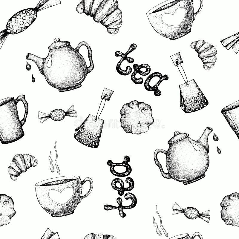 Seamless pattern with tea elements. Vector illustration for wallpaper design, background, print, packaging, banner vector illustration