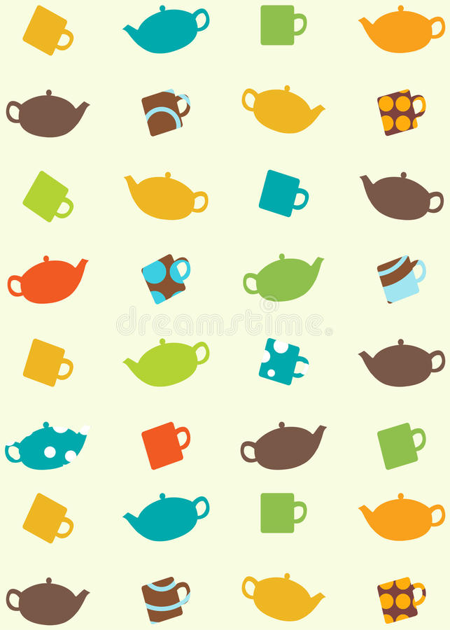 Download Seamless Pattern Of Tea Pots And Cups Royalty Free Stock Photography - Image: 10276167