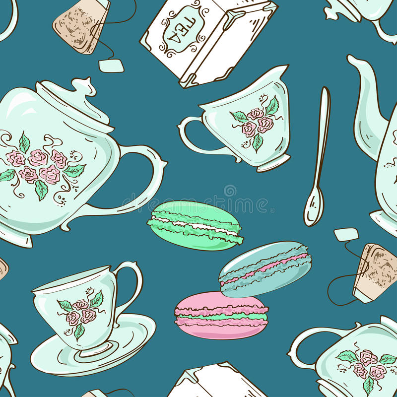 Seamless pattern of tea set and French macaroons royalty free illustration