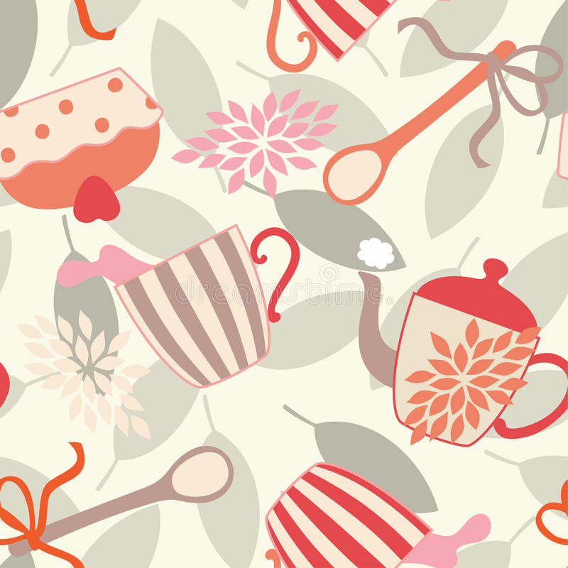 Download Seamless Pattern With Tea Utensils Stock Vector - Illustration of splash, textile: 14991320