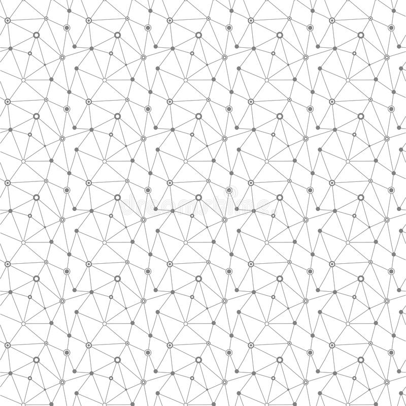 Seamless pattern technology background for web site from grey po. Ints of connection lines on white background. Abstract information background. IT-development royalty free illustration