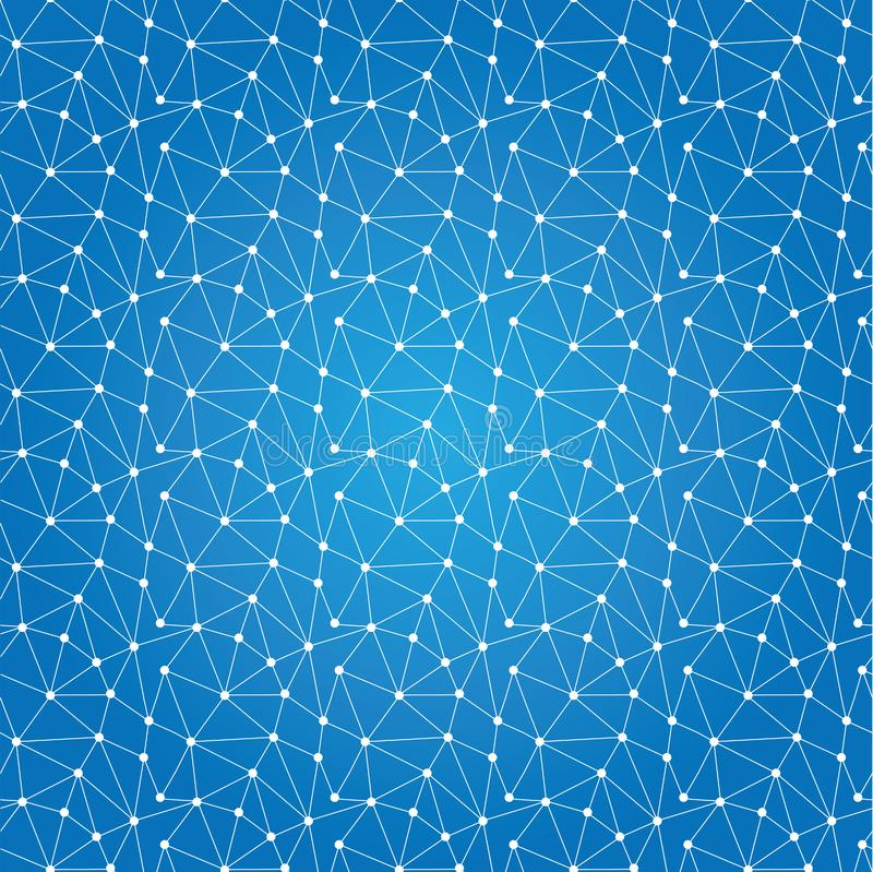 Seamless pattern technology background for web site from white p. Oints of connection lines on blue background. Abstract information background. IT-development royalty free illustration