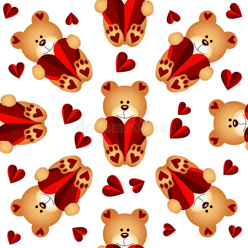 Seamless pattern with teddy bears and hearts. Scalable vectorial image representing a seamless pattern with teddy bears and hearts, isolated on white vector illustration