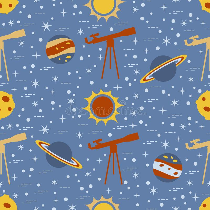 Seamless pattern with telescope, sun, planets, stars. Space exploration. Astronomy. Science stock illustration