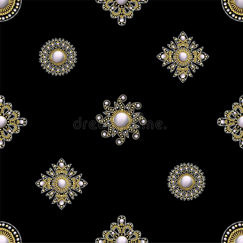 Seamless pattern from textile embroidered patches with sequins, beads and pearls. Vector illustration. Seamless pattern from textile embroidered patches with vector illustration