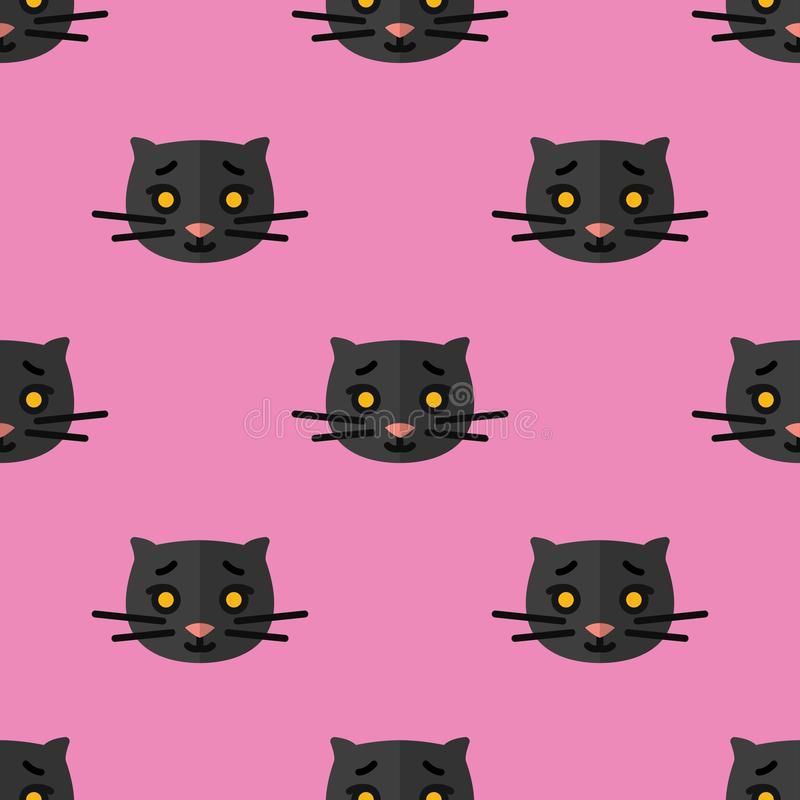 Seamless pattern for textiles with cute black kittens on a pink background. Vector illustration in flat style vector illustration