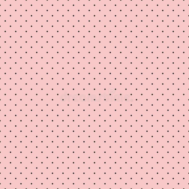 Seamless pattern for textiles and wallpaper - small black polka dots on a pink background. vector illustration
