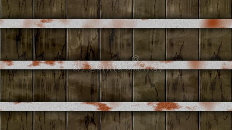 Seamless pattern background dark brown colored woody barrel fence oak planks with three iron rusty hoops stock illustration