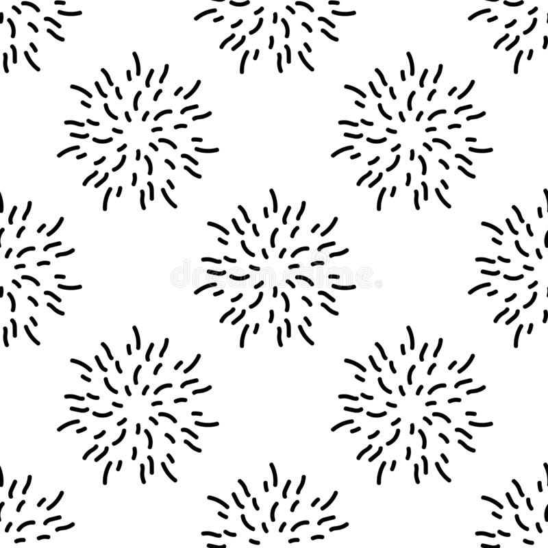 Seamless pattern texture with black flowers, fireworks or stars made of shabby strokes. White background. vector illustration with twigs. Perfect for printing stock illustration