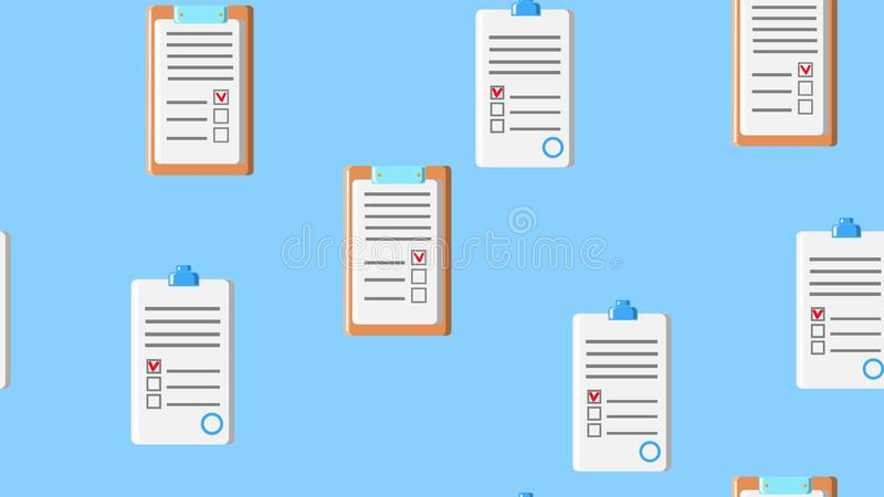Seamless pattern texture of endless repeating paper sheets of paper contracts with tablets for papers on blue background. stock illustration