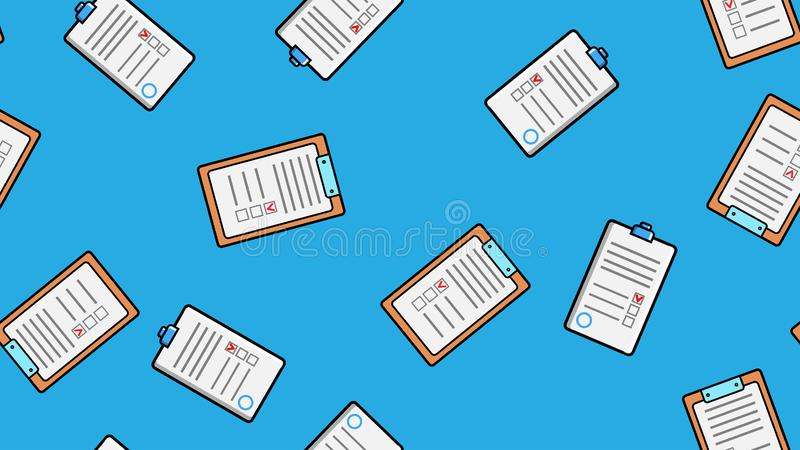 Seamless pattern texture of endless repeating paper sheets of paper contracts with tablets for papers on blue background. vector illustration