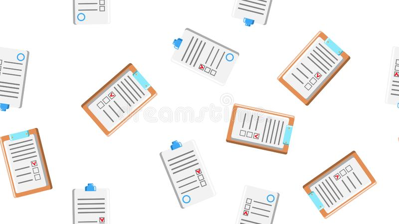 Seamless pattern texture of endless repeating paper sheets of paper contracts with tablets for papers on white background. royalty free illustration
