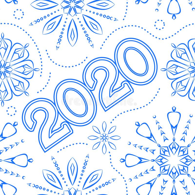 Seamless pattern. Texture. Happy New Year 2020. Blue thin line snowflakes on a white background. Happy New Year 2020. Blue snowflakes on a  white background royalty free illustration