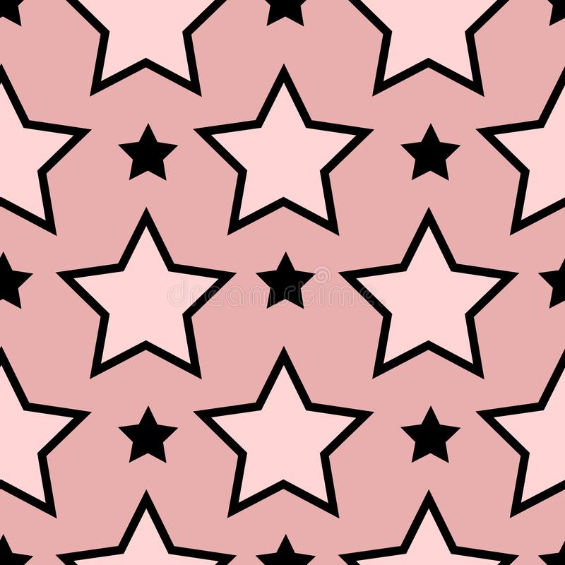 Seamless Pattern Texture With Line Drawing Stars. Seamless Pattern Texture With Line Drawing Stars on Pink Background stock illustration