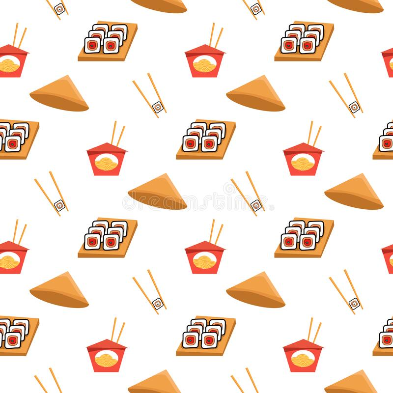 Seamless pattern texture with sushi, ramen noodles and chopsticks. Vector textile, wrapping, wallpaper, background for vector illustration