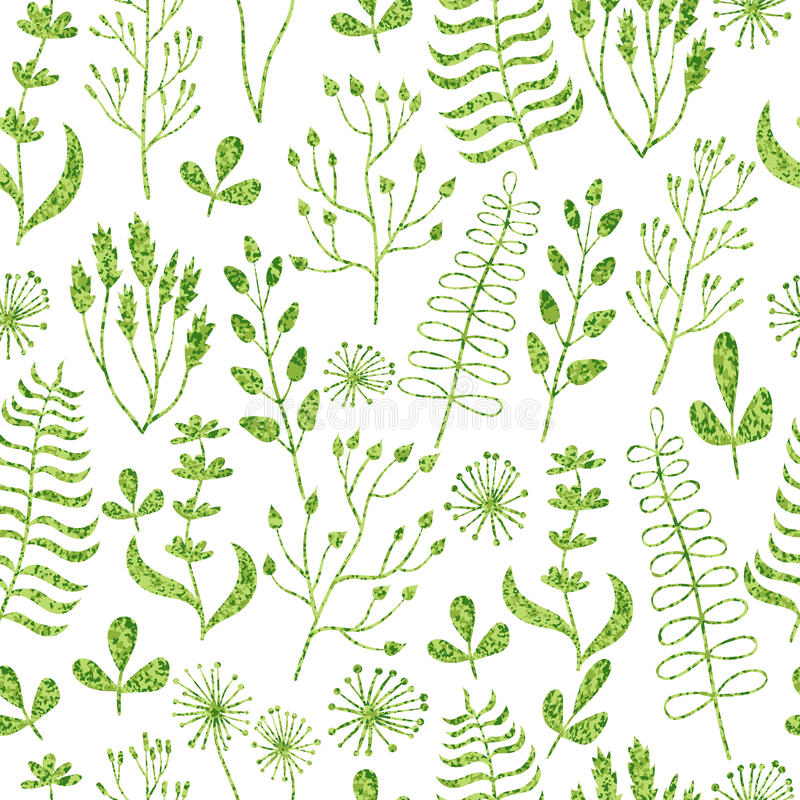 Seamless pattern with textured leaves, flowers, branches and herbs. Vector floral background royalty free illustration
