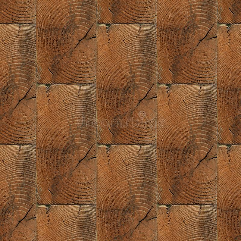 Seamless pattern of textured wooden brick wall with girdle. Abstract seamless pattern for designers of wooden bricks wall with knots and girdle stock photography