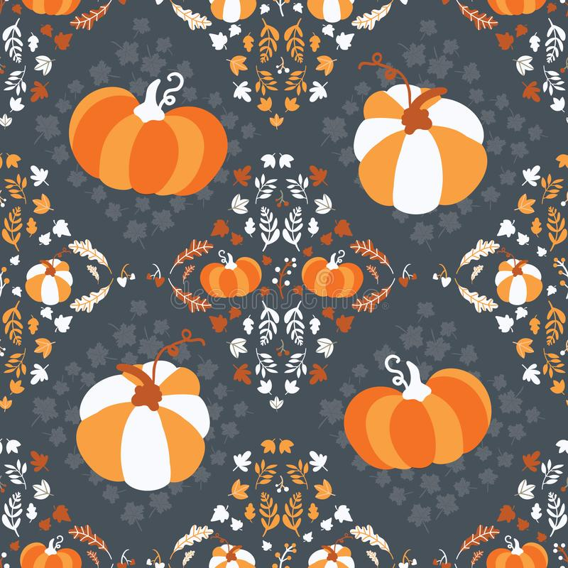 Seamless pattern for thanksgiving celebration. Vector of hand drawn illustration with ripe pumpkin and leaves arranged in vintage. Style royalty free illustration