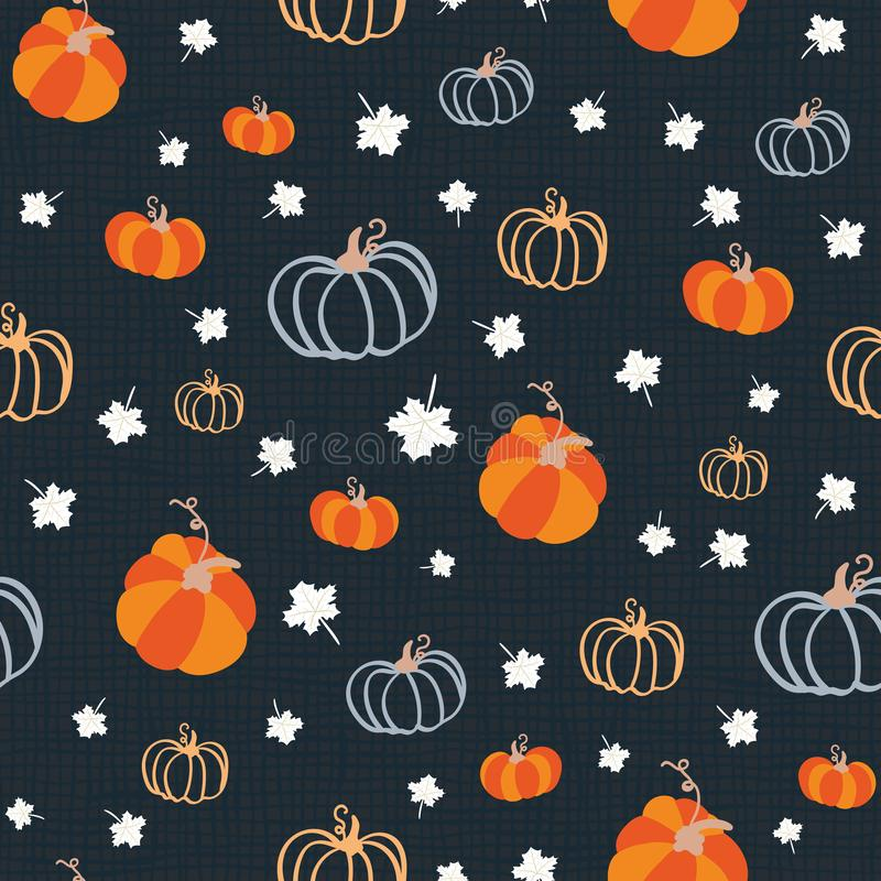Seamless pattern for thanksgiving celebration. Vector of hand drawn illustration with ripe pumpkin and white maple leaves on. Textured background stock photo
