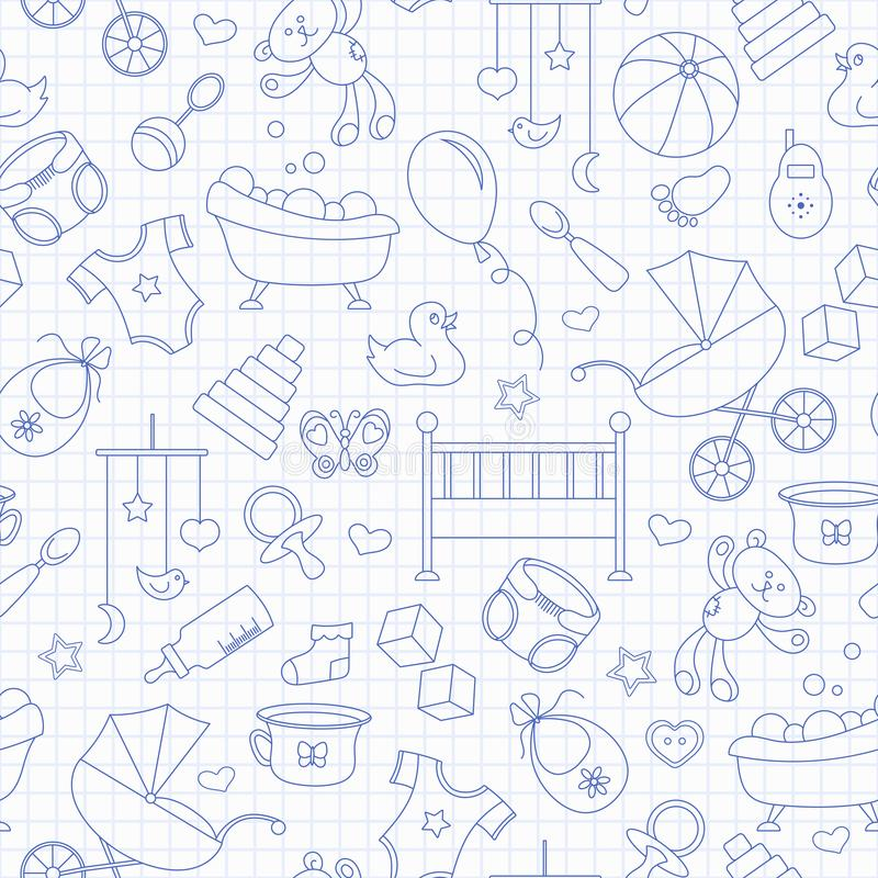 Seamless illustration on the theme of childhood and newborn babies, baby accessories and toys, simple contour icons, blue contou. Seamless pattern on the theme royalty free illustration