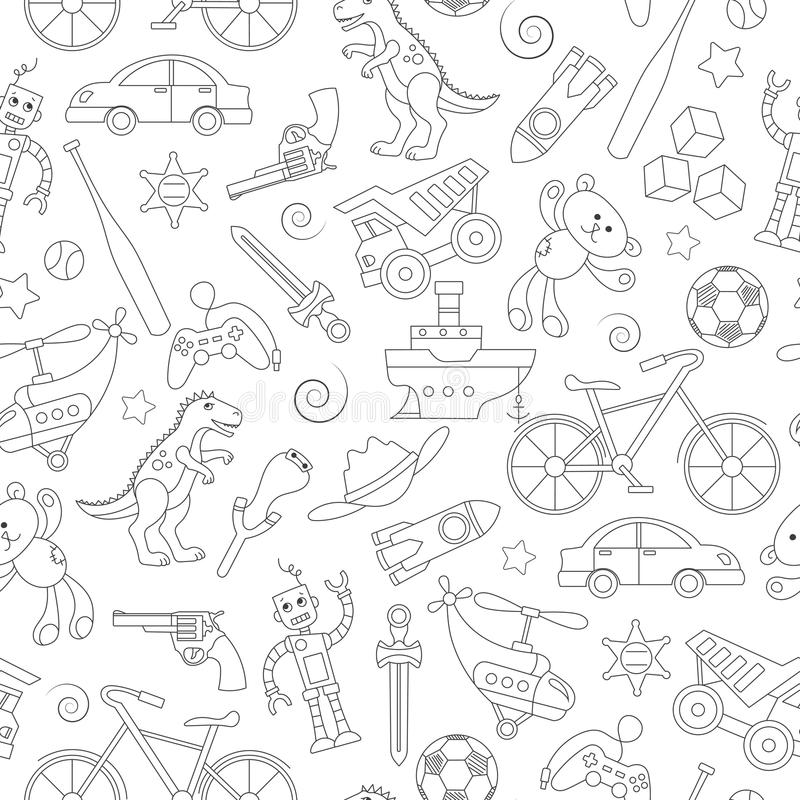 Seamless illustration on the theme of childhood and toys, toys for boys, black contour icons on white background. Seamless pattern on the theme of childhood and royalty free illustration