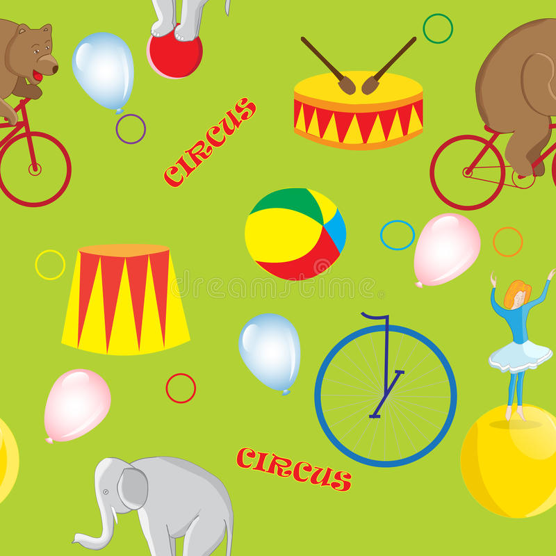 Seamless pattern on the theme of a circus bear on a red bike stock illustration