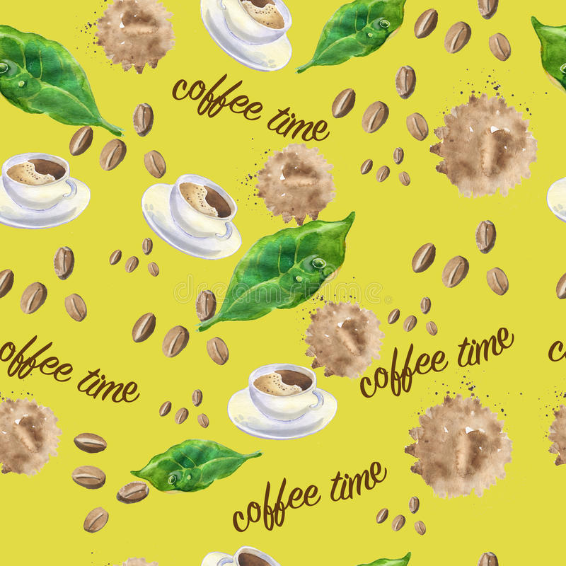 Seamless pattern on the theme of coffee royalty free illustration