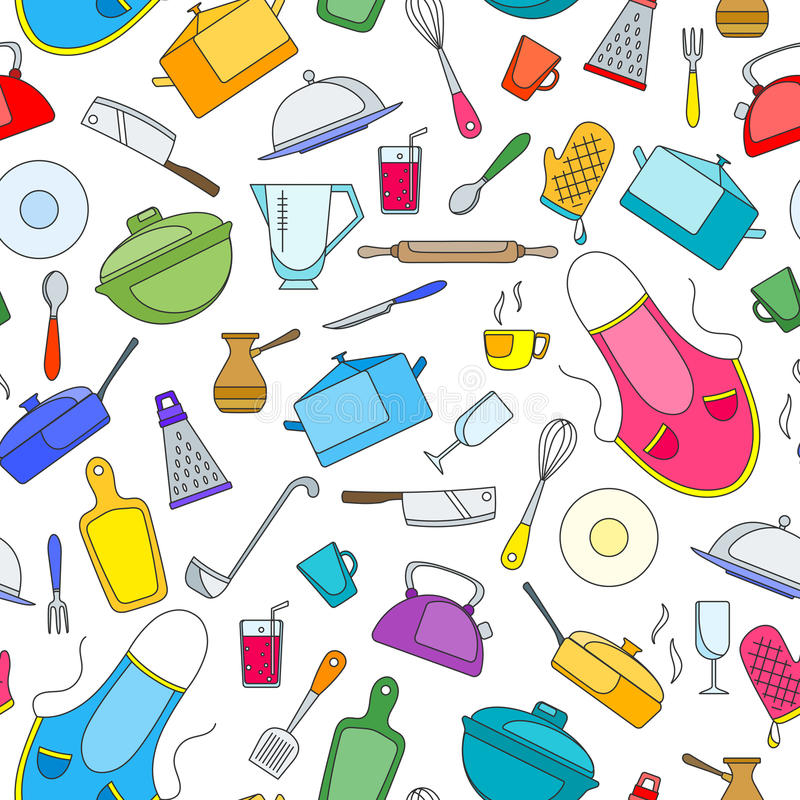 Seamless illustration on the theme of cooking and kitchen utensils, simple painted icons on white background. Seamless pattern on the theme of cooking and stock illustration
