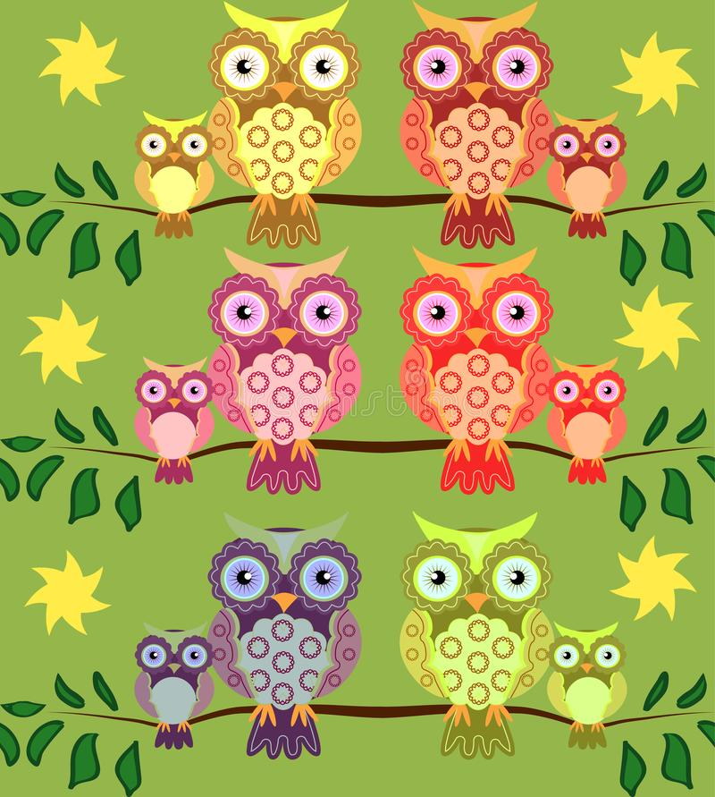 seamless pattern on the theme of family and nature. A family of owls sitting on a tree branch among flowers and butterflies vector illustration