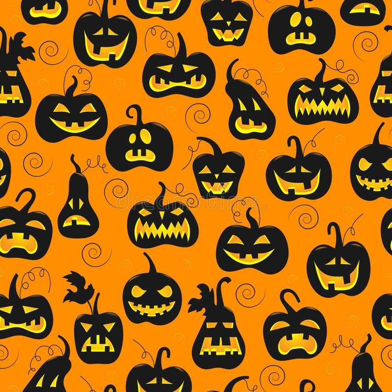 Seamless illustration on the theme of Halloween, different shapes dark pumpkin on orange background stock illustration