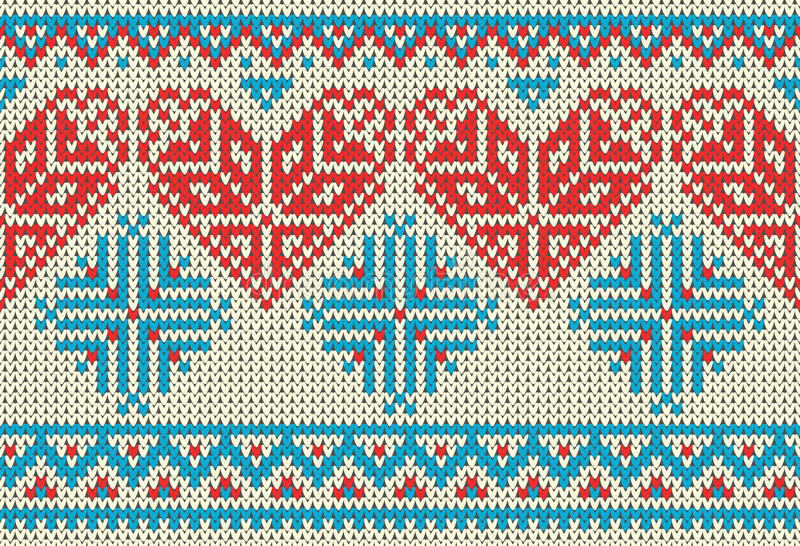 Seamless pattern on the theme of holiday Valentine`s Day with an image of the Norwegian and fairisle patterns. Red heart, turquois royalty free illustration