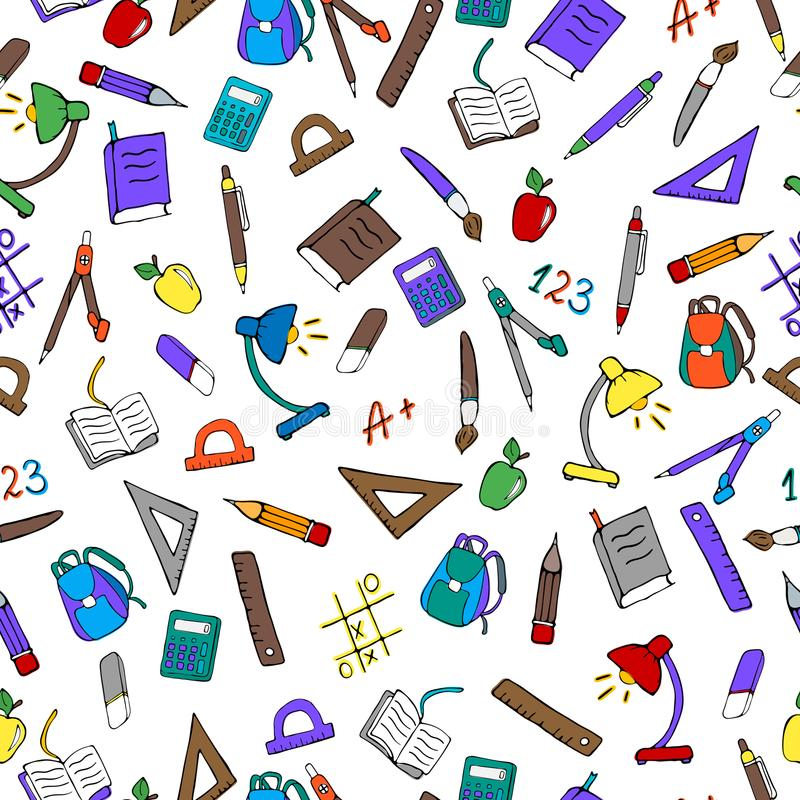 Seamless illustration on the theme of the school, a simple hand-drawn color icons on light background. Seamless pattern on the theme of the school, a simple hand stock illustration