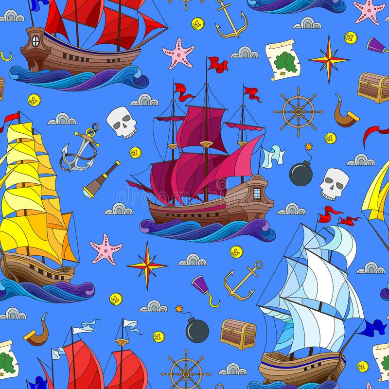 Seamless illustration on the theme of sea travel, sailboats and ship`s tackle on a blue background. Seamless pattern on the theme of sea travel, sailboats and stock illustration