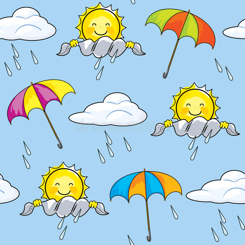 Seamless pattern on the theme of weather with the sun and umbrellas. Vector seamless texture on the weather with the cheerful sun, clouds, rain and umbrellas royalty free illustration