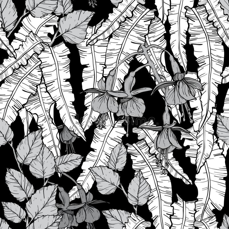 Seamless pattern with thickets of weaving plants, hand drawn design. Black and white vector illustration