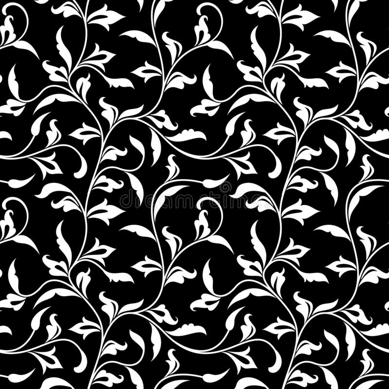 Seamless pattern. Thin delicate twigs with decorative leaves on black  background. Luxurious texture. For print, wallpaper, home decor, textile, package design vector illustration