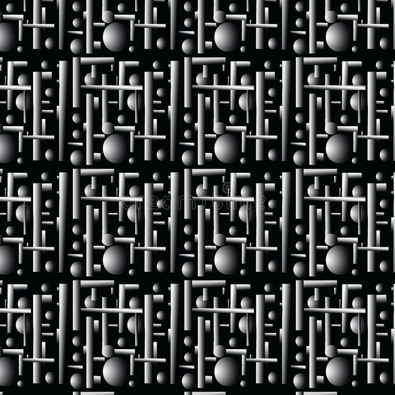 Seamless pattern, three-dimensional metal construction. royalty free stock photos