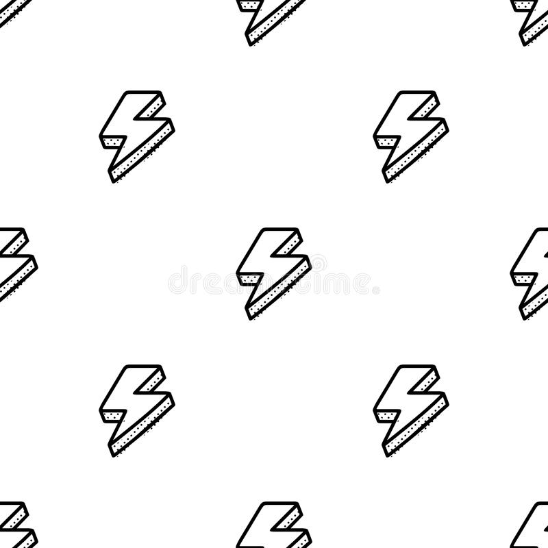 Seamless pattern with thunderbolts in comic style royalty free illustration