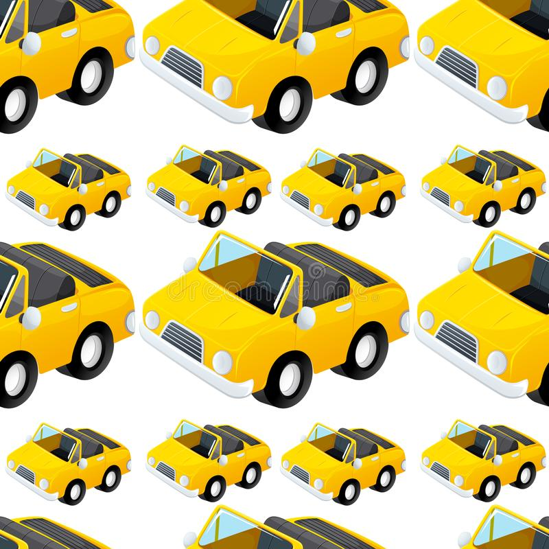 Seamless pattern tile cartoon with toy car. Illustration royalty free illustration