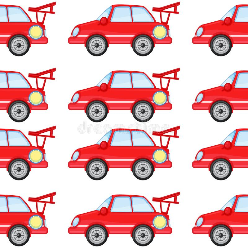 Seamless pattern tile cartoon with toy car. Illustration stock illustration