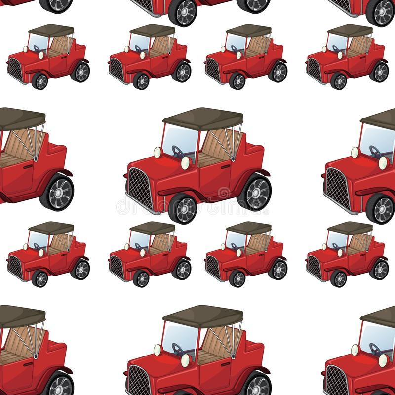 Seamless pattern tile cartoon with toy car. Illustration vector illustration