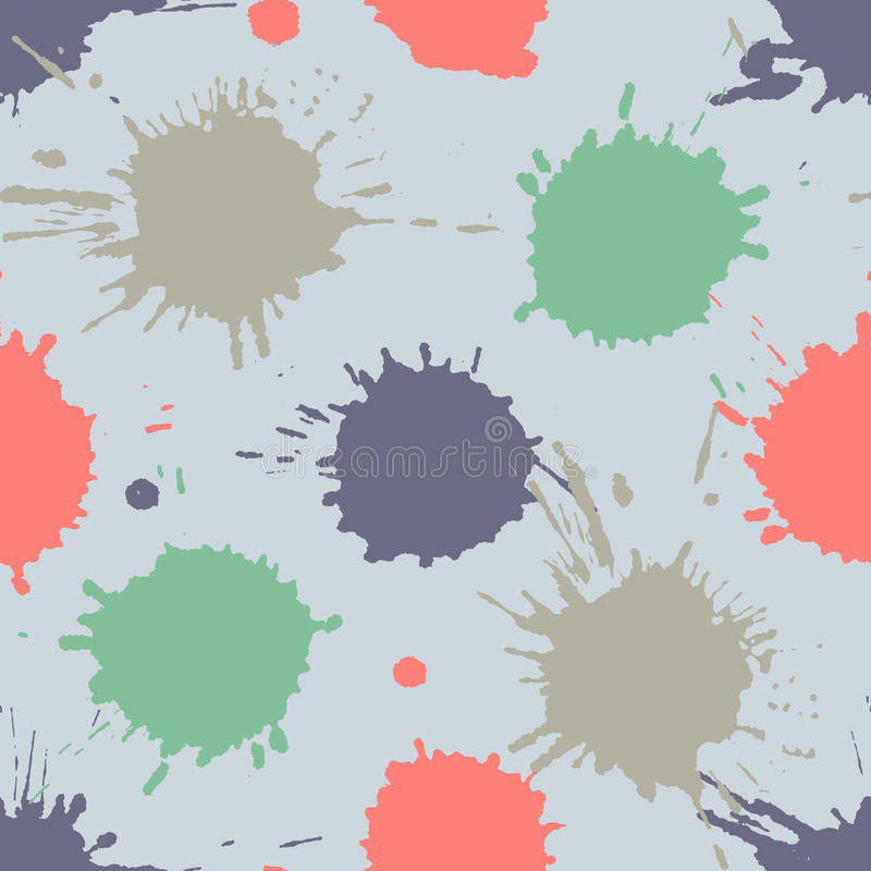 Seamless pattern, tile with inc splash, blots, smudge and brush strokes. Grunge endless template for web background, prints, wallp. Aper, surface, wrapping vector illustration