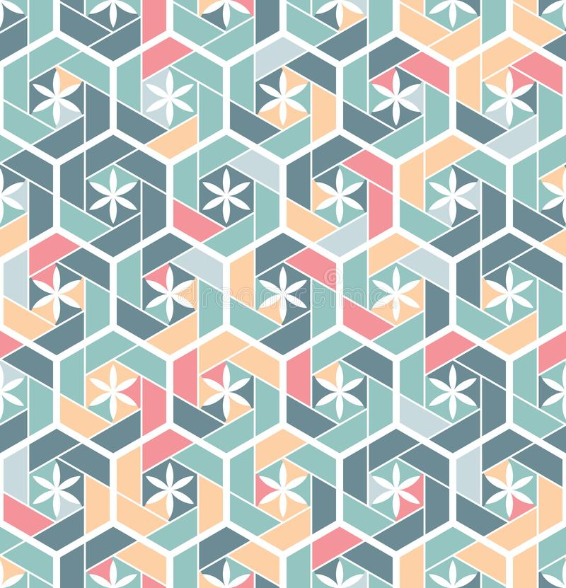 Seamless pattern for tiles in the bathroom. Drawing for home textiles. Pattern made of hexagons. royalty free illustration