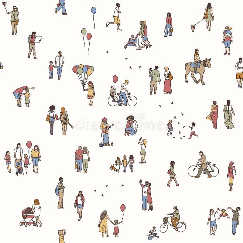 Seamless pattern of tiny pedestrians stock illustration