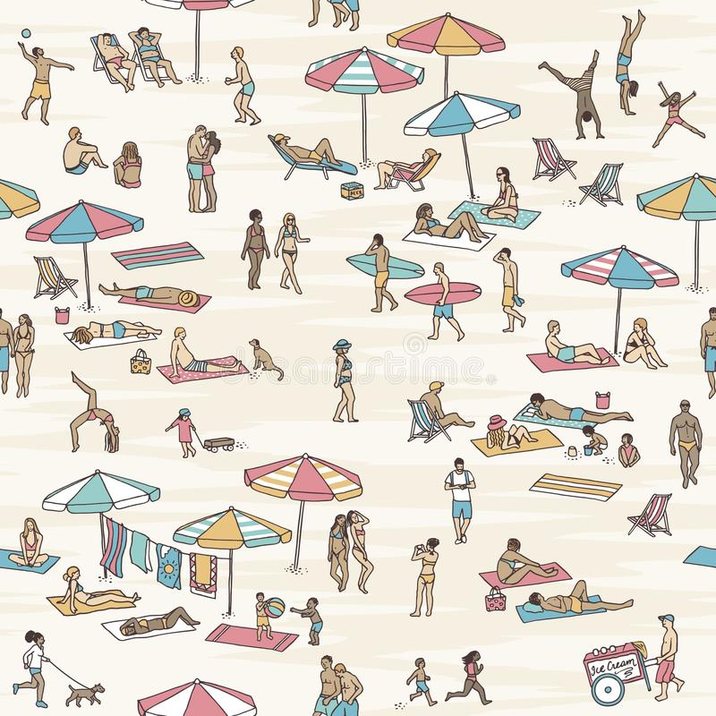 Seamless pattern of tiny people at the beach vector illustration